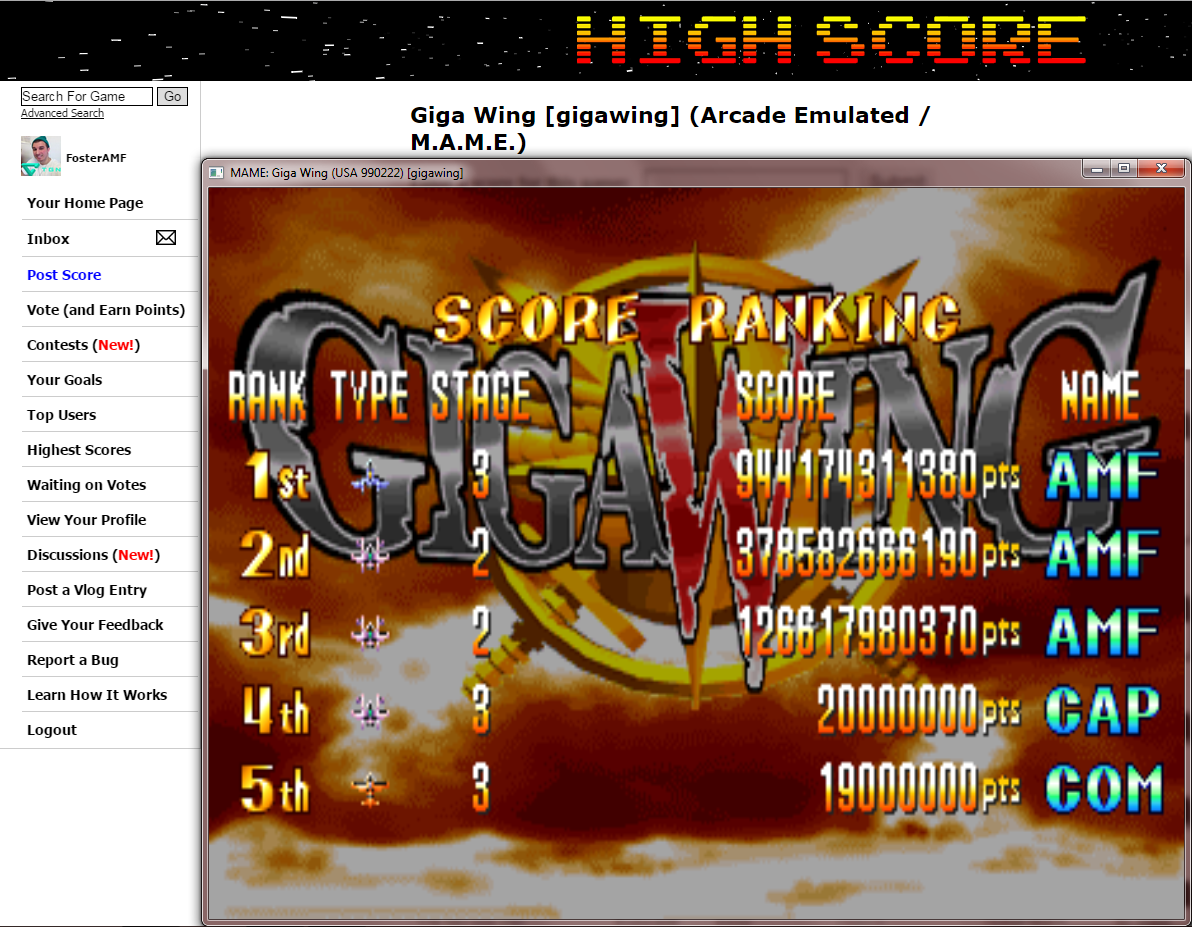 FosterAMF: Giga Wing [gigawing] (Arcade Emulated / M.A.M.E.) 944,174,311,380 points on 2015-03-02 01:58:35