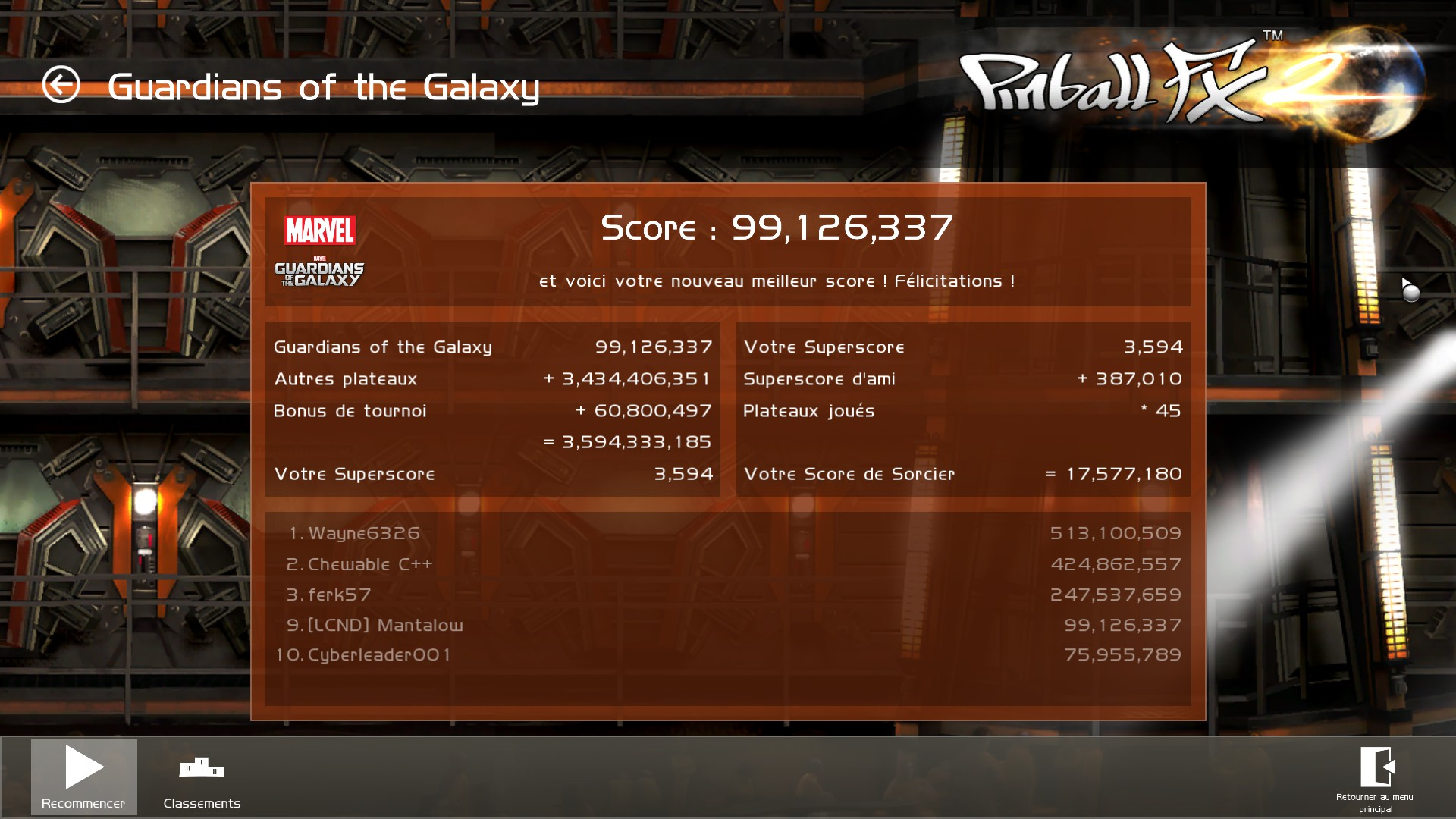 Mantalow: Pinball FX 2: Marvel Guardians of the Galaxy (PC) 99,126,337 points on 2015-03-05 09:57:31