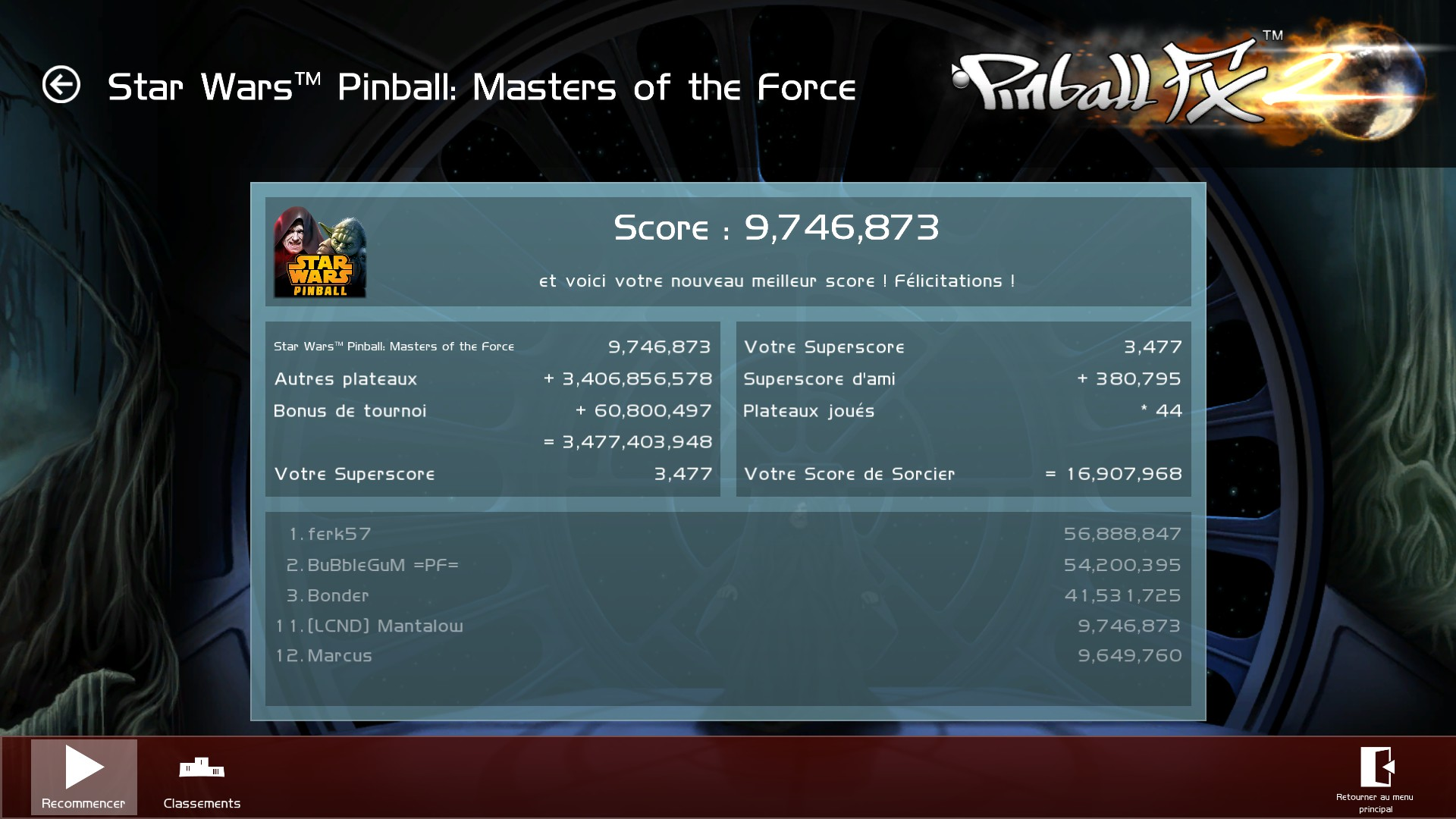 Mantalow: Pinball FX 2: Star Wars: Masters of the Force (PC) 9,746,873 points on 2015-03-05 09:58:43