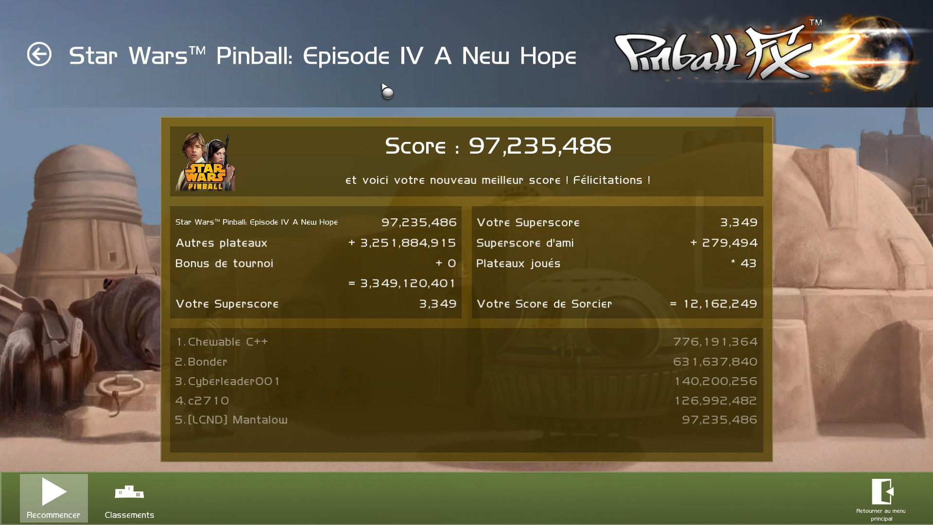 Mantalow: Pinball FX 2: Star Wars Pinball: Episode IV: A New Hope (PC) 97,235,486 points on 2015-03-05 10:00:00