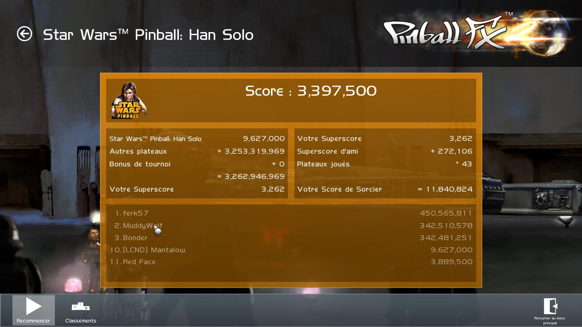 Mantalow: Pinball FX 2: Star Wars Pinball: Han Solo (PC) 3,397,500 points on 2015-03-05 10:00:25