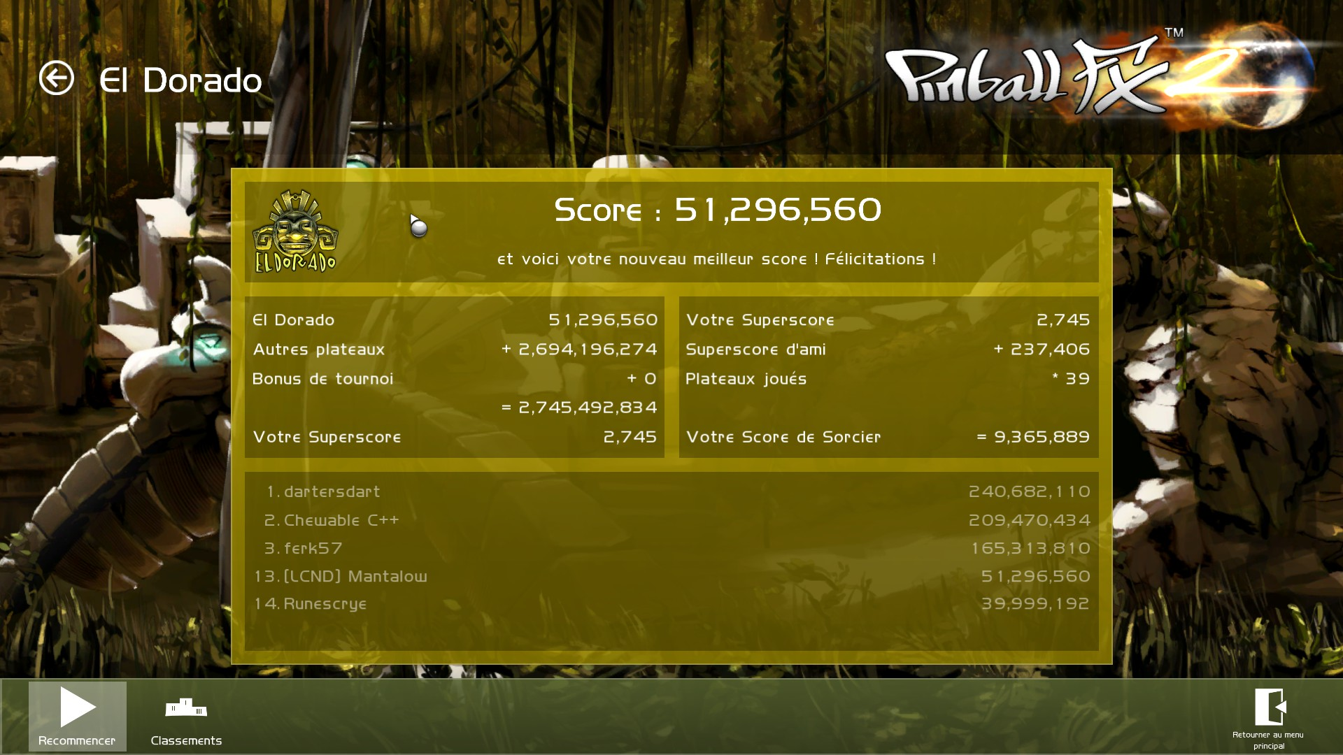 Mantalow: Pinball FX 2: El Dorado (PC) 51,296,560 points on 2015-03-05 10:05:16