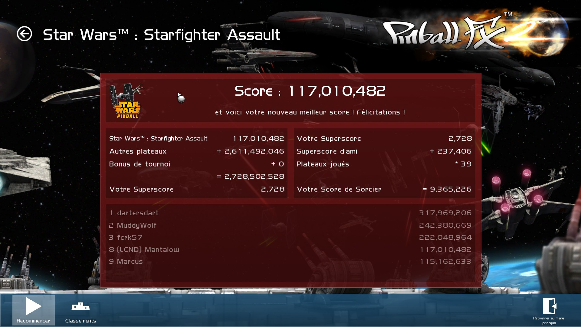 Mantalow: Pinball FX 2: Star Wars: Starfighter Assault (PC) 117,010,482 points on 2015-03-05 10:06:14