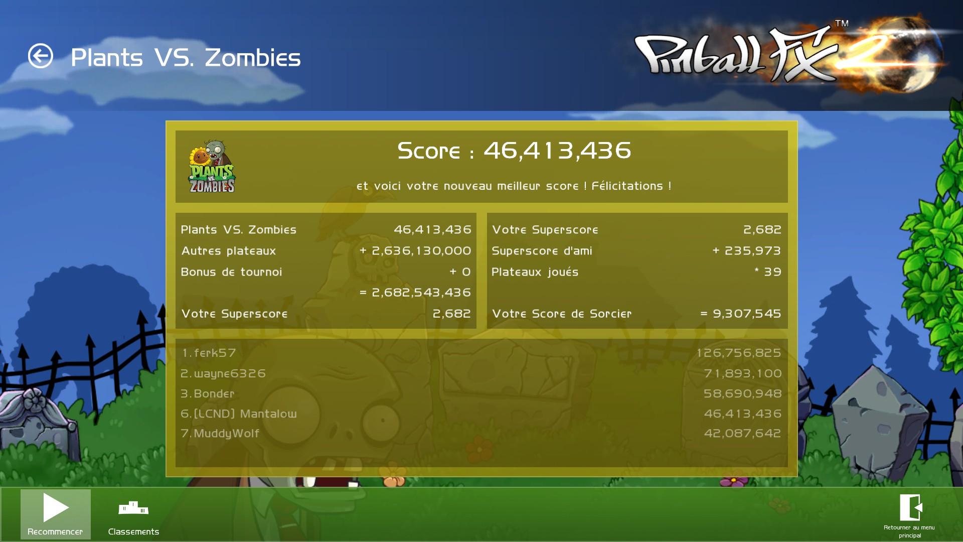 Mantalow: Pinball FX 2: Plants vs Zombies (PC) 46,413,436 points on 2015-03-05 10:06:51