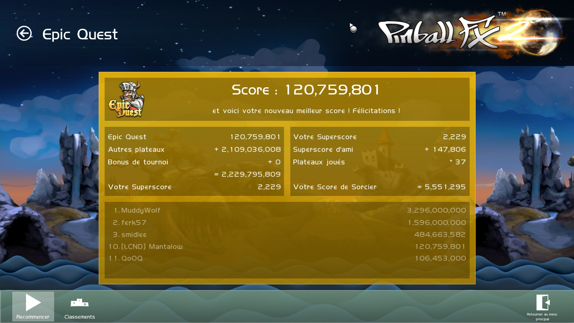 Mantalow: Pinball FX 2: Epic Quest (PC) 120,759,801 points on 2015-03-05 10:08:03