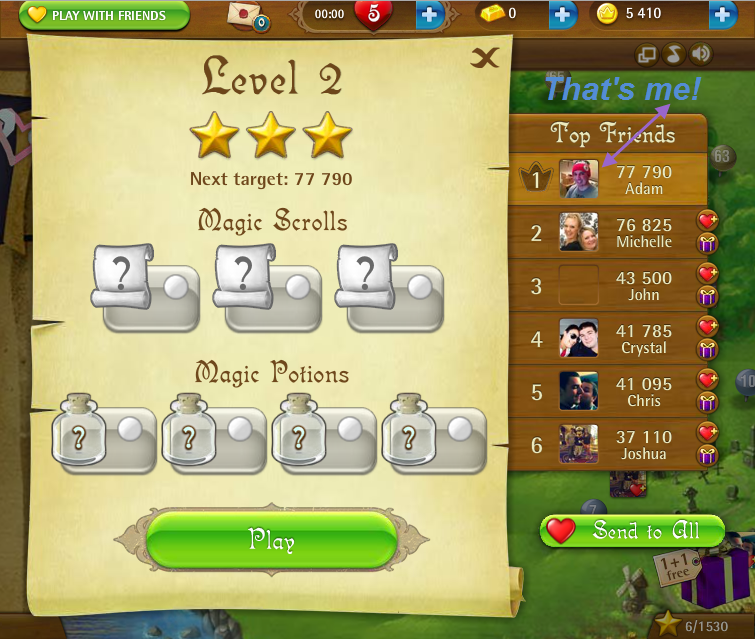 FosterAMF: Bubble Witch Saga: Level 2 (Web) 77,790 points on 2015-03-05 14:55:54