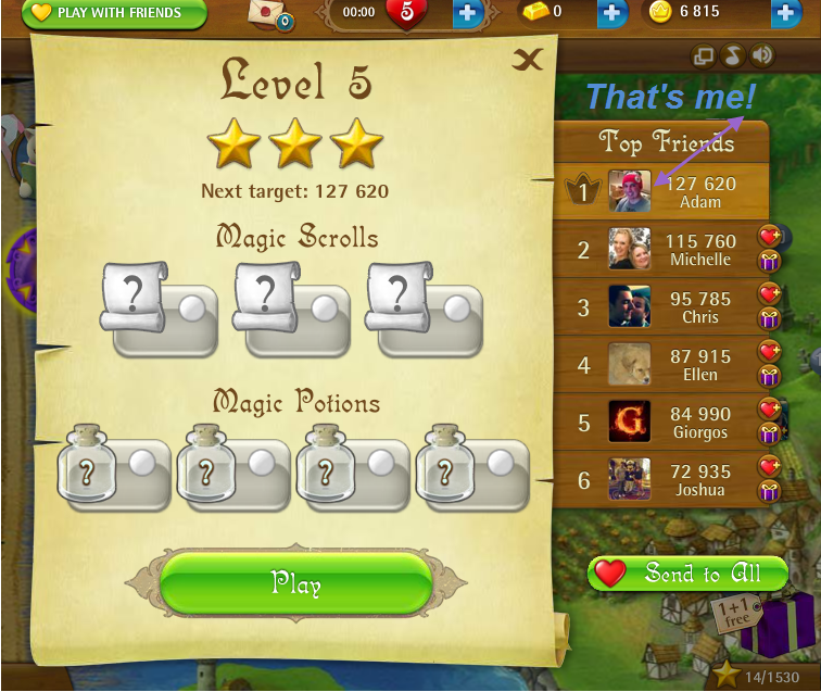 FosterAMF: Bubble Witch Saga: Level 5 (Web) 127,620 points on 2015-03-05 16:23:54