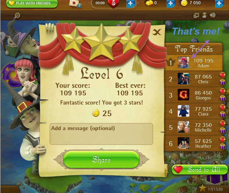 FosterAMF: Bubble Witch Saga: Level 6 (Web) 109,195 points on 2015-03-05 16:40:57