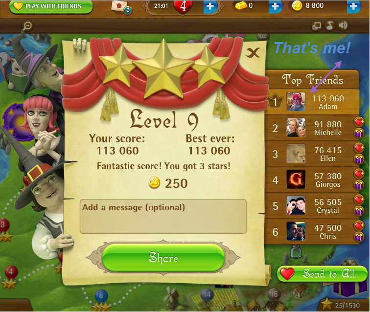 FosterAMF: Bubble Witch Saga: Level 9 (Web) 113,060 points on 2015-03-05 17:52:35
