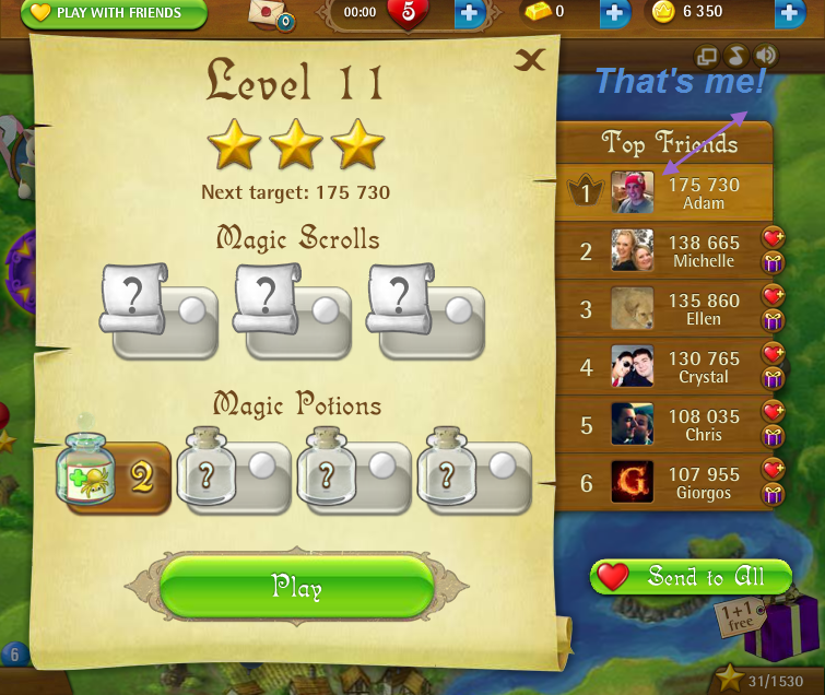 FosterAMF: Bubble Witch Saga: Level 11 (Web) 175,730 points on 2015-03-05 18:23:51