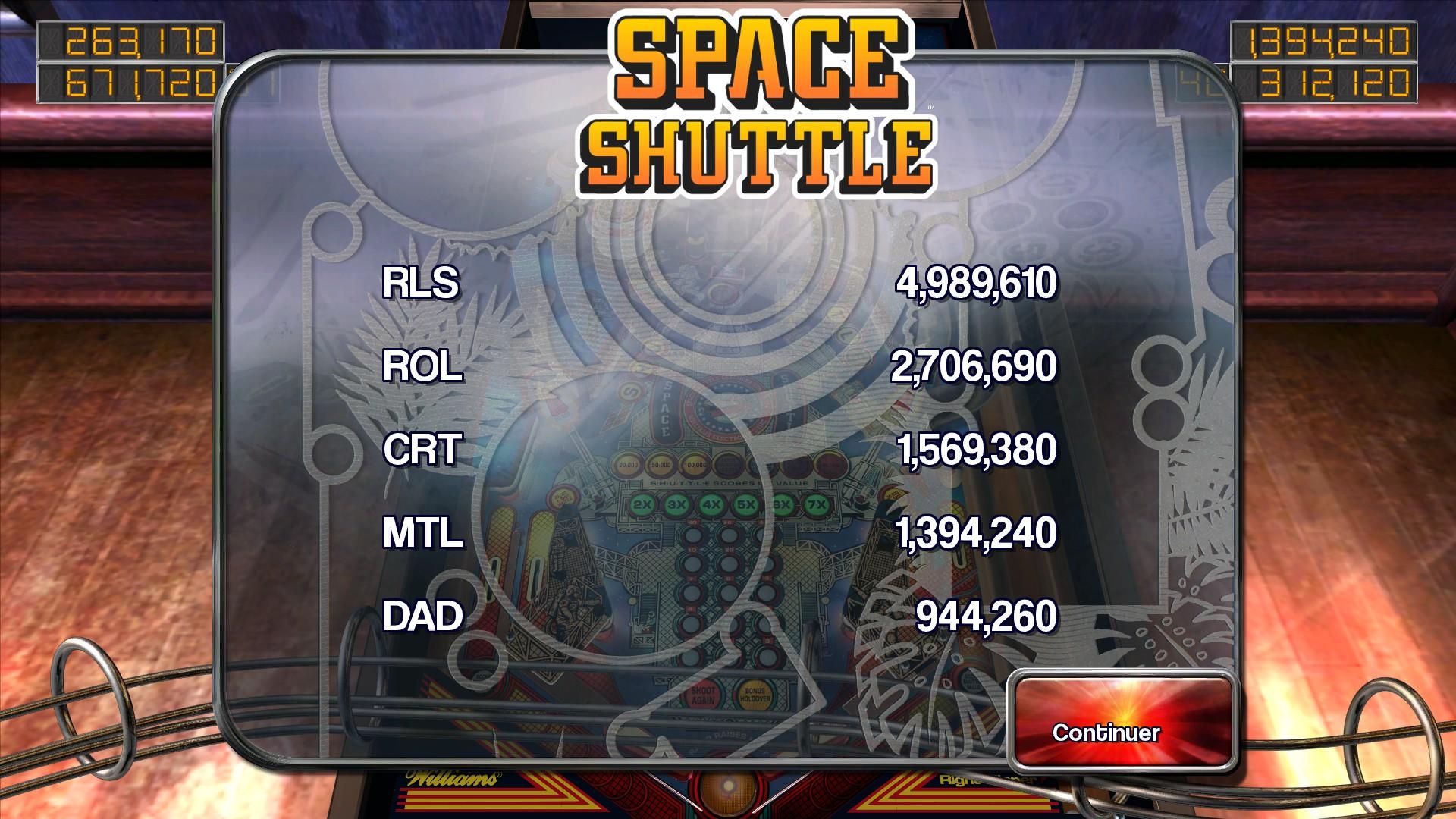Mantalow: Pinball Arcade: Space Shuttle (PC) 1,394,240 points on 2015-03-06 11:18:38