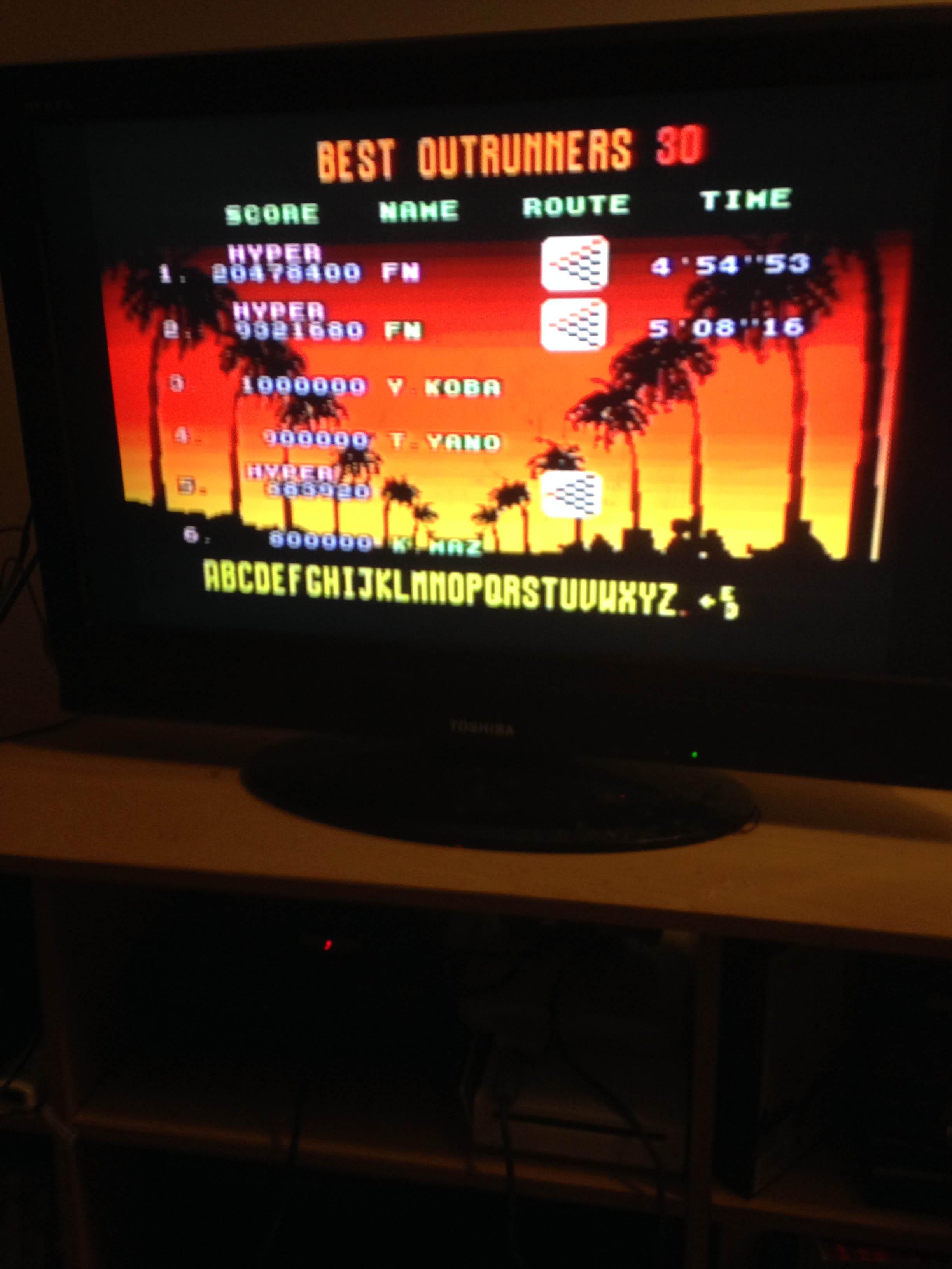 mechafatnick: Outrun [Hyper] Goal A (Sega Genesis / MegaDrive) 20,478,400 points on 2015-03-07 02:54:55