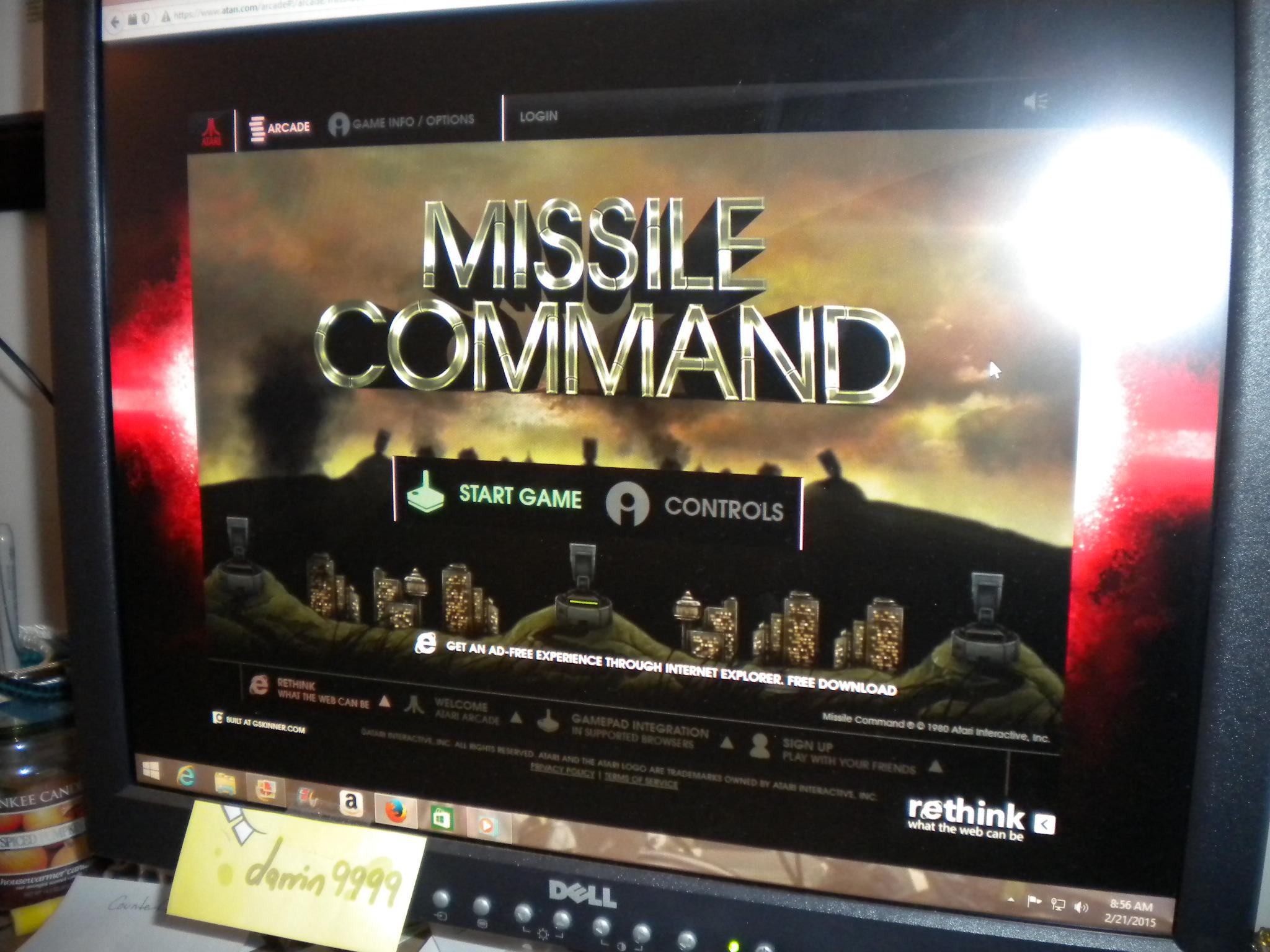 Missle Command 316,125 points