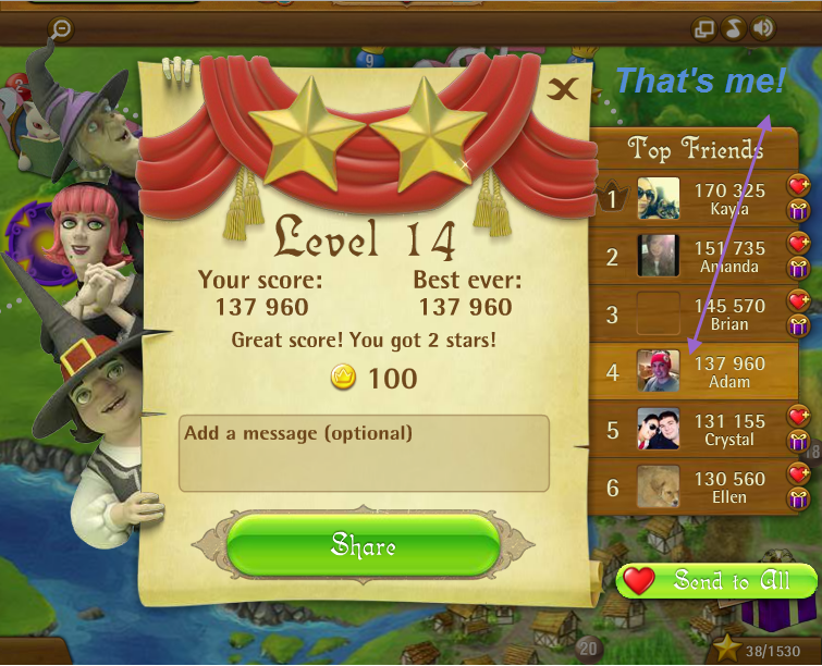 FosterAMF: Bubble Witch Saga: Level 14 (Web) 137,960 points on 2015-03-07 19:43:16