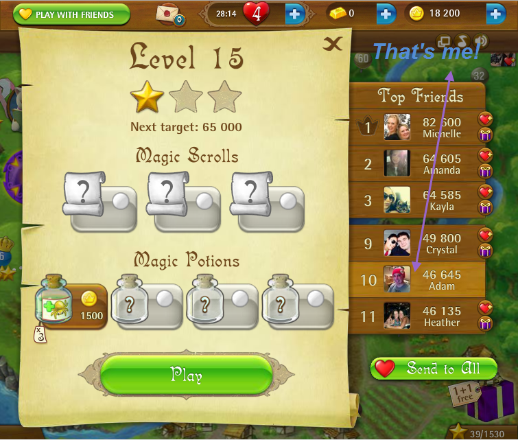 FosterAMF: Bubble Witch Saga: Level 15 (Web) 46,645 points on 2015-03-07 19:47:38