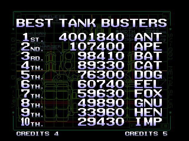 Metal Slug X 4,001,840 points