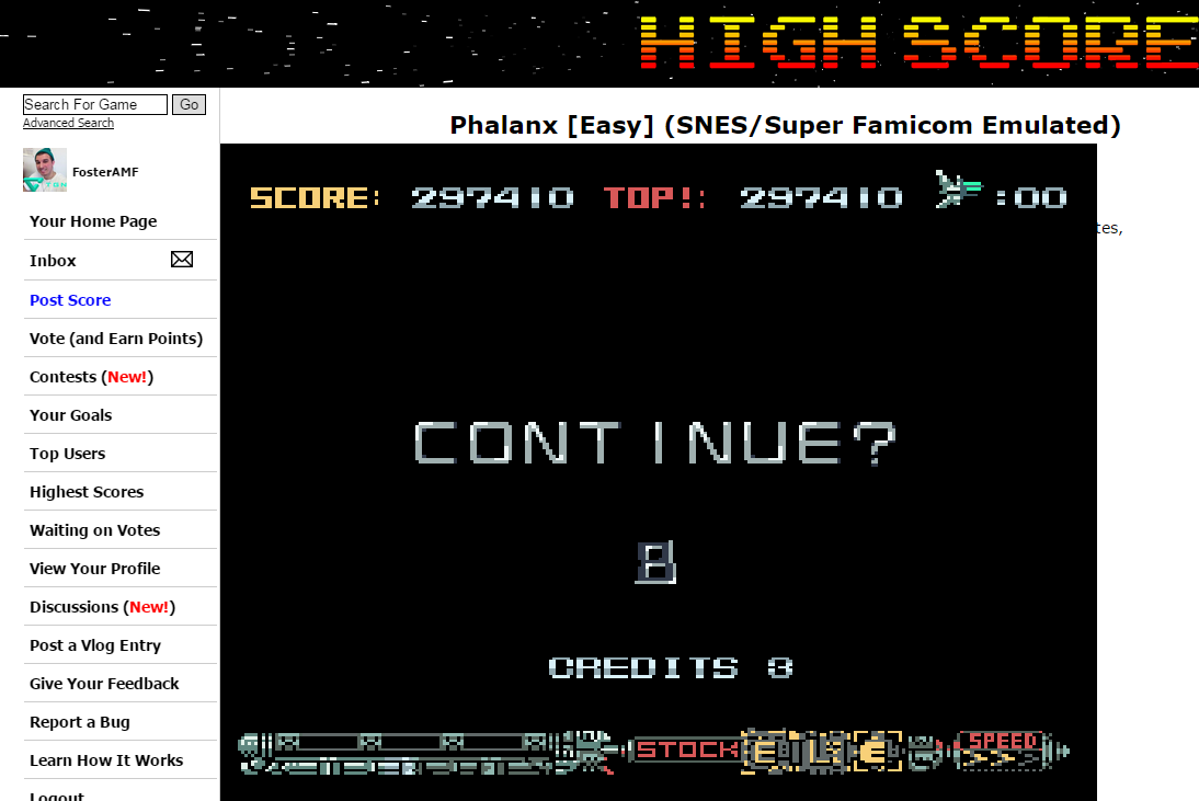 FosterAMF: Phalanx [Easy] (SNES/Super Famicom Emulated) 297,410 points on 2015-03-08 23:02:25