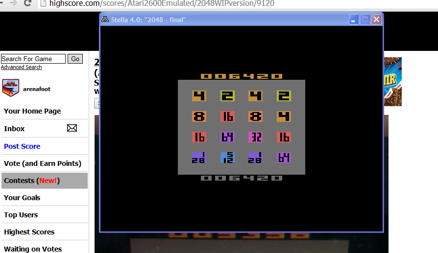 arenafoot: 2048 [WIP version] (Atari 2600 Emulated) 6,420 points on 2015-03-09 16:58:11