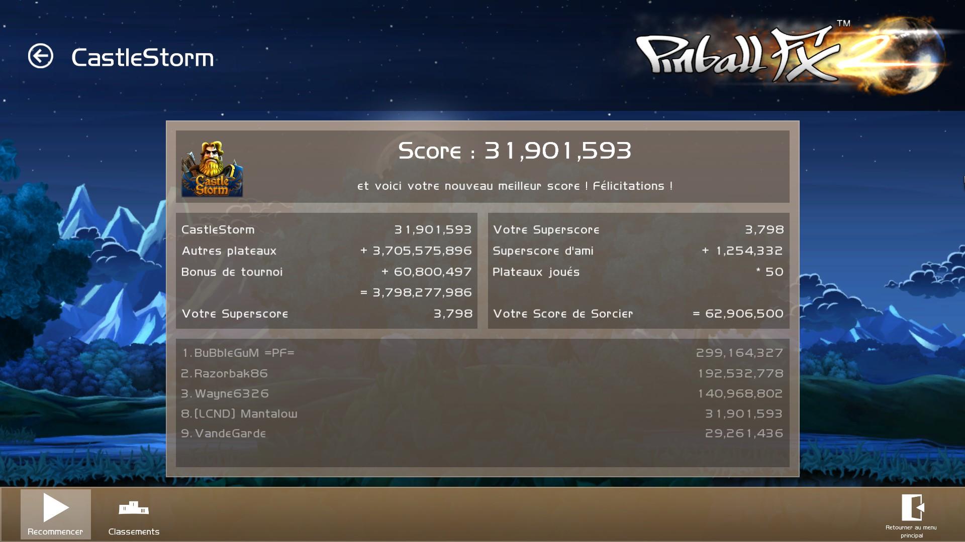 Mantalow: Pinball FX2: Castle Storm (PC) 31,901,593 points on 2015-03-12 03:44:27