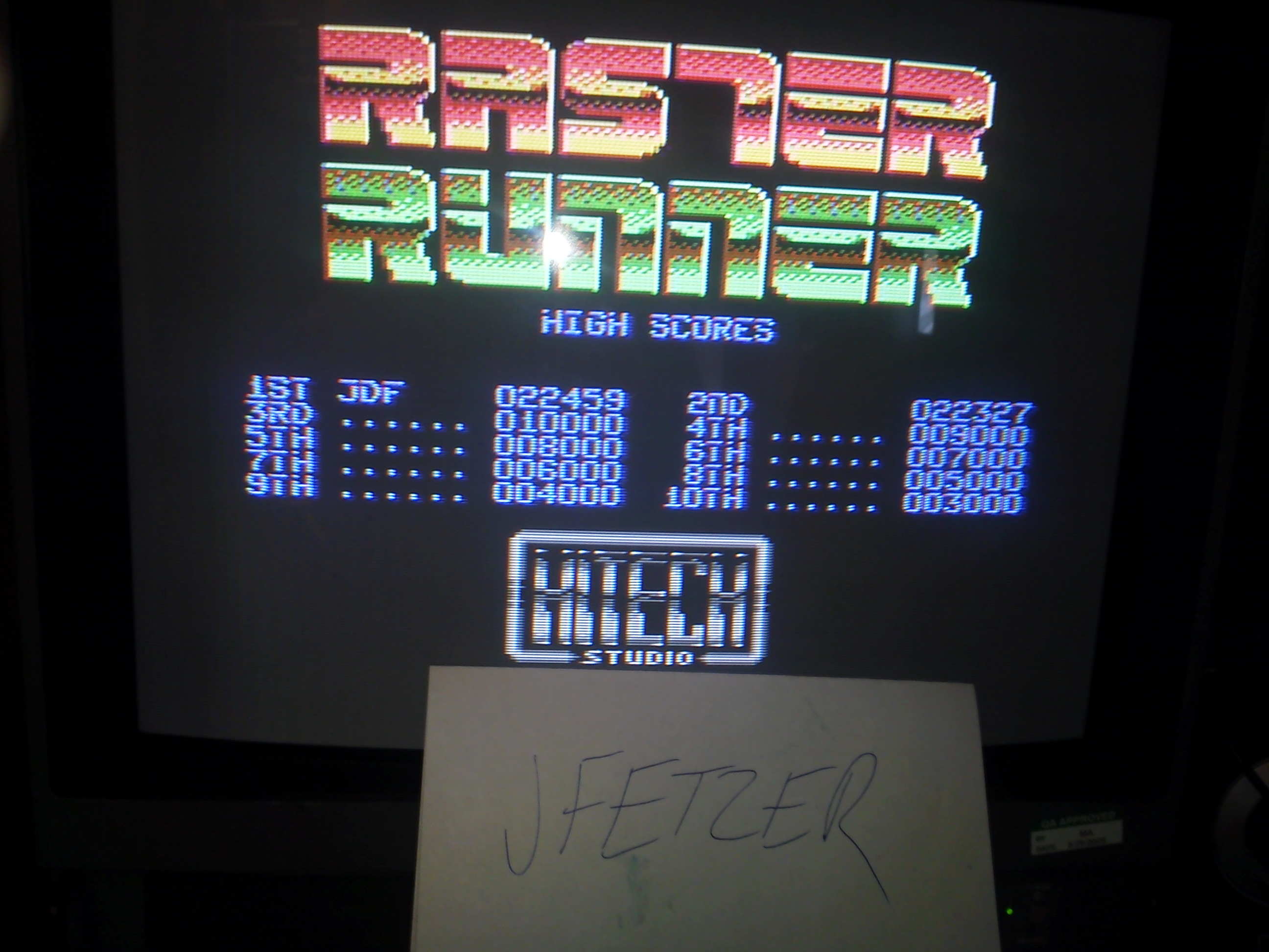 jfetzer: Raster Runner [1P/Easy] (Commodore 64) 22,459 points on 2015-03-14 09:02:55