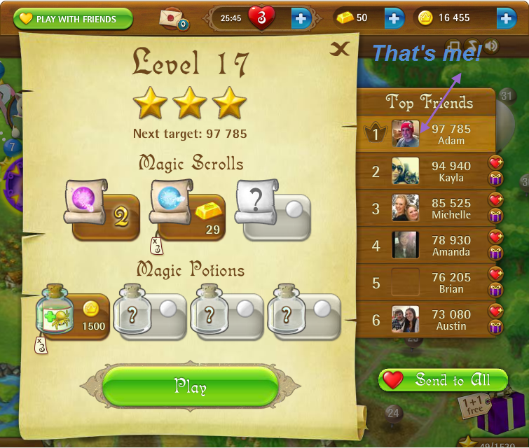 FosterAMF: Bubble Witch Saga: Level 17 (Web) 97,785 points on 2015-03-14 15:49:44