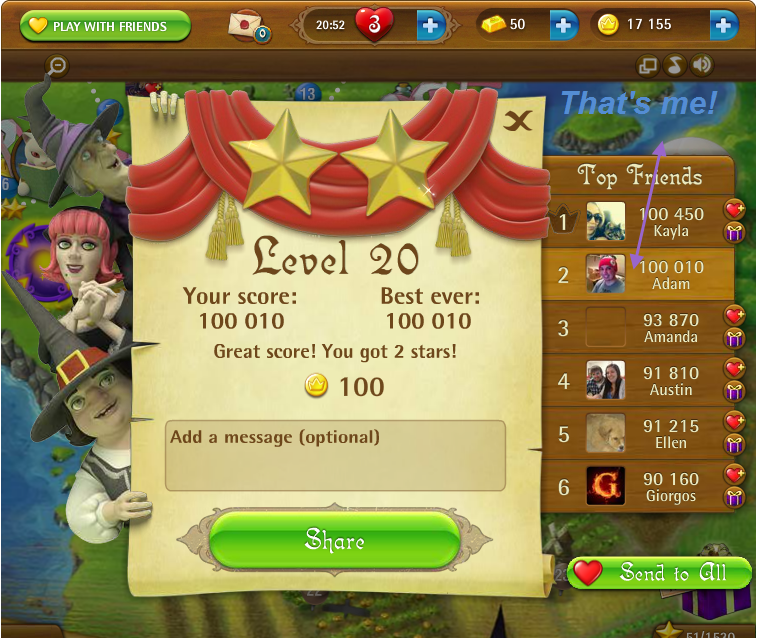 FosterAMF: Bubble Witch Saga: Level 20 (Web) 100,010 points on 2015-03-14 15:54:39