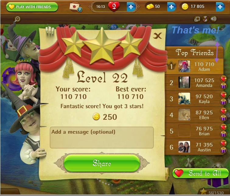 FosterAMF: Bubble Witch Saga: Level 22 (Web) 110,710 points on 2015-03-14 16:29:06
