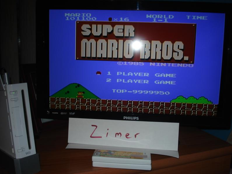 Zimer: Super Mario Bros. (Wii Virtual Console: NES) 9,999,950 points on 2015-03-15 11:32:58