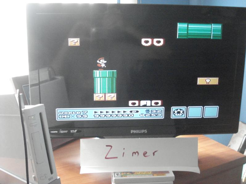 Zimer: Super Mario Bros. 3 (Wii Virtual Console: NES) 9,999,990 points on 2015-03-15 12:33:20