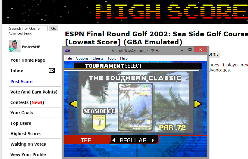 FosterAMF: ESPN Final Round Golf 2002: Sea Side Golf Course [Lowest Score] (GBA Emulated) 53 points on 2015-03-15 17:45:26