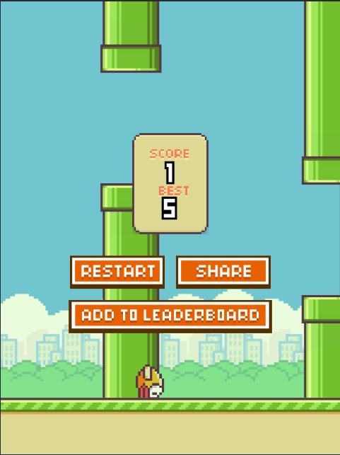 AmazingAgent: Flappy Bird (Web) 5 points on 2015-03-15 19:38:50