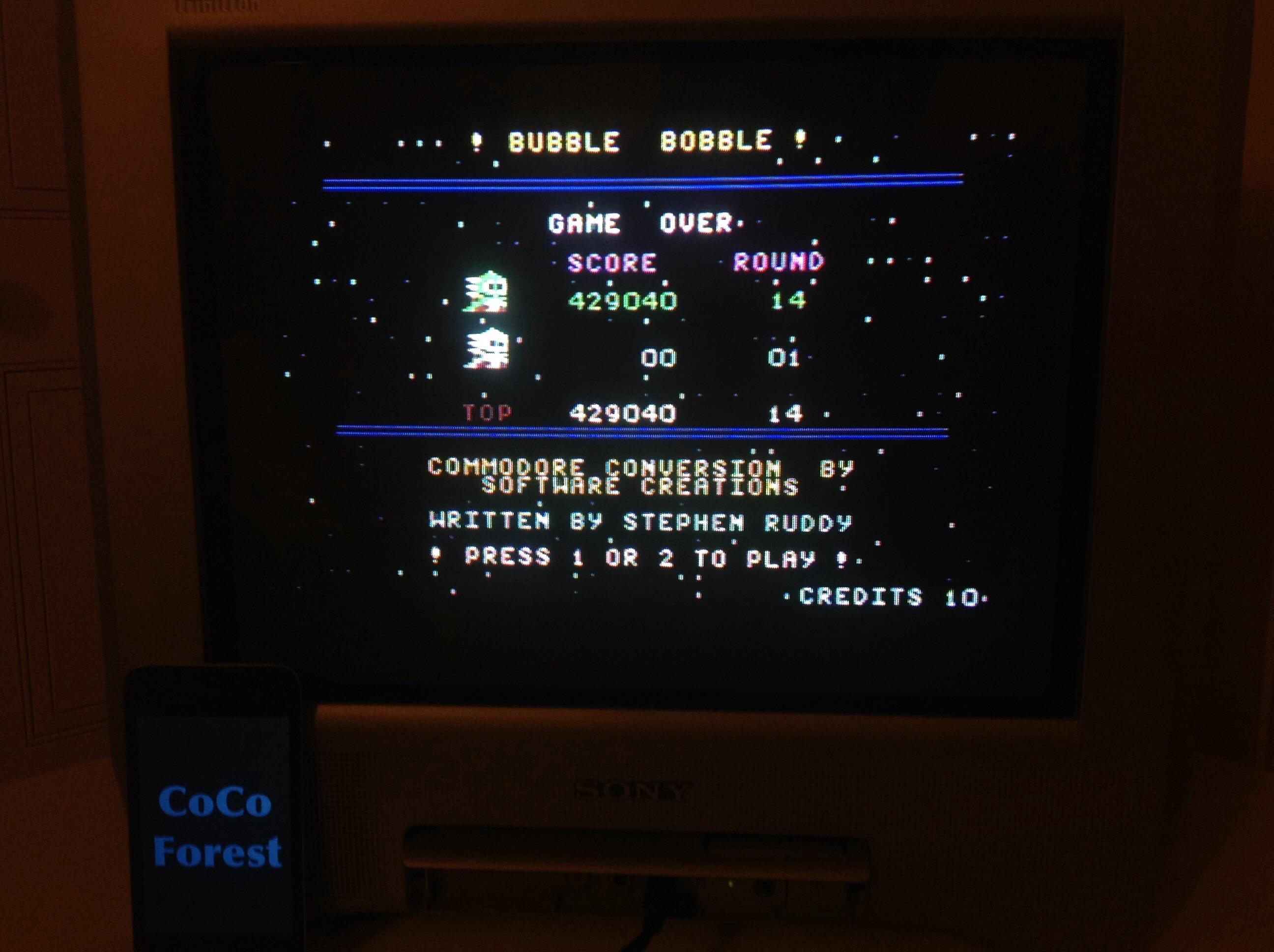 CoCoForest: Bubble Bobble (Commodore 64) 429,040 points on 2015-03-16 14:12:19