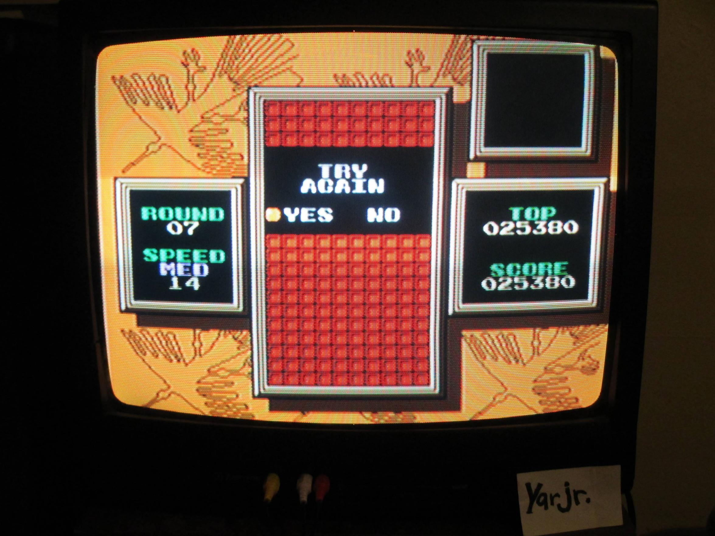 yarjr: Tetris 2 (NES/Famicom Emulated) 25,380 points on 2013-09-11 11:59:05