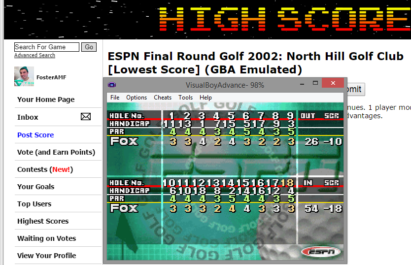 FosterAMF: ESPN Final Round Golf 2002: North Hill Golf Club [Lowest Score] (GBA Emulated) 54 points on 2015-03-21 18:00:39