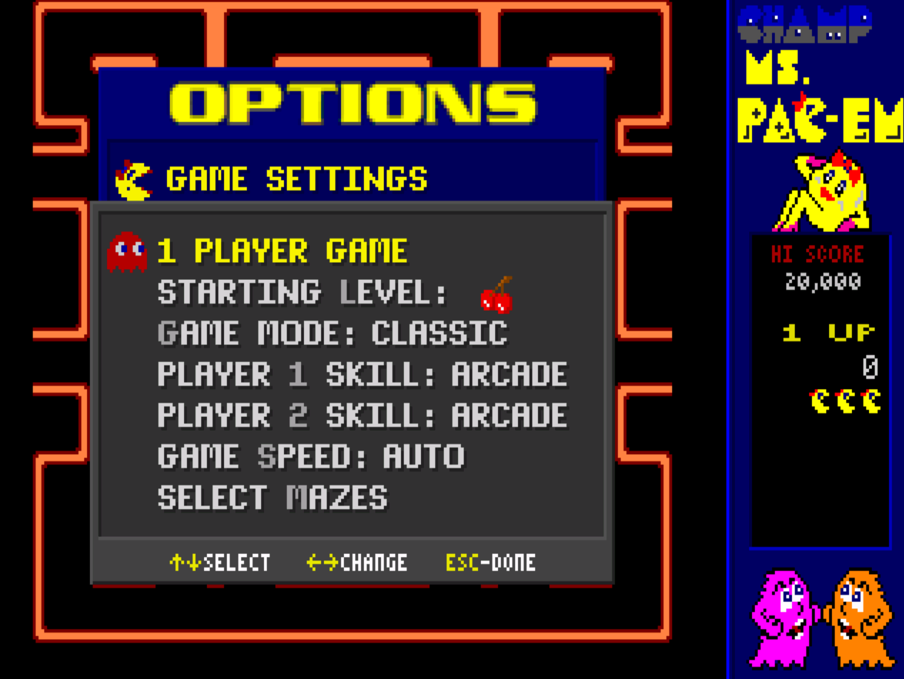 Champ Ms. Pac-em: Classic / Arcade 15,020 points