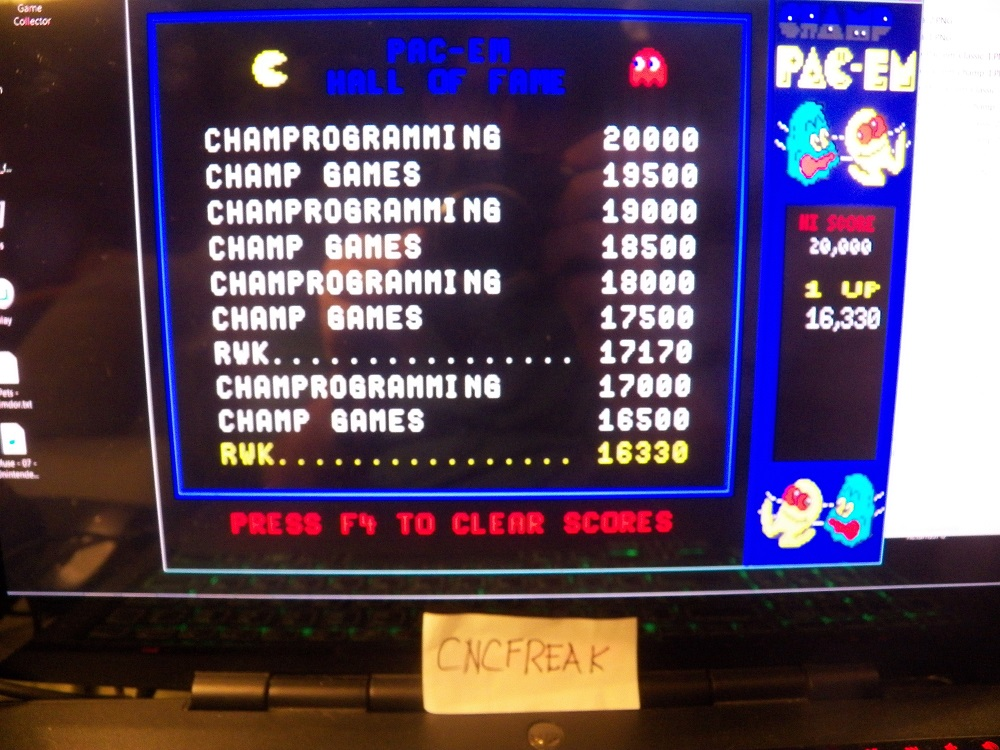 Champ Pac-em: Champ / Arcade 16,330 points