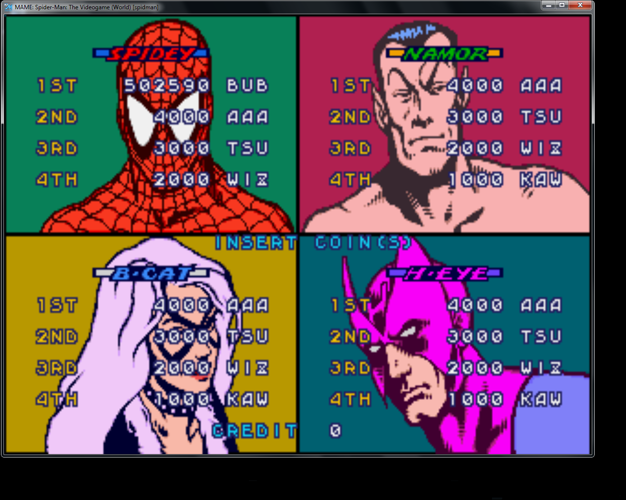 bubufubu: Spider-Man: The Video Game [spidman] (Arcade Emulated / M.A.M.E.) 502,590 points on 2015-03-23 18:20:29