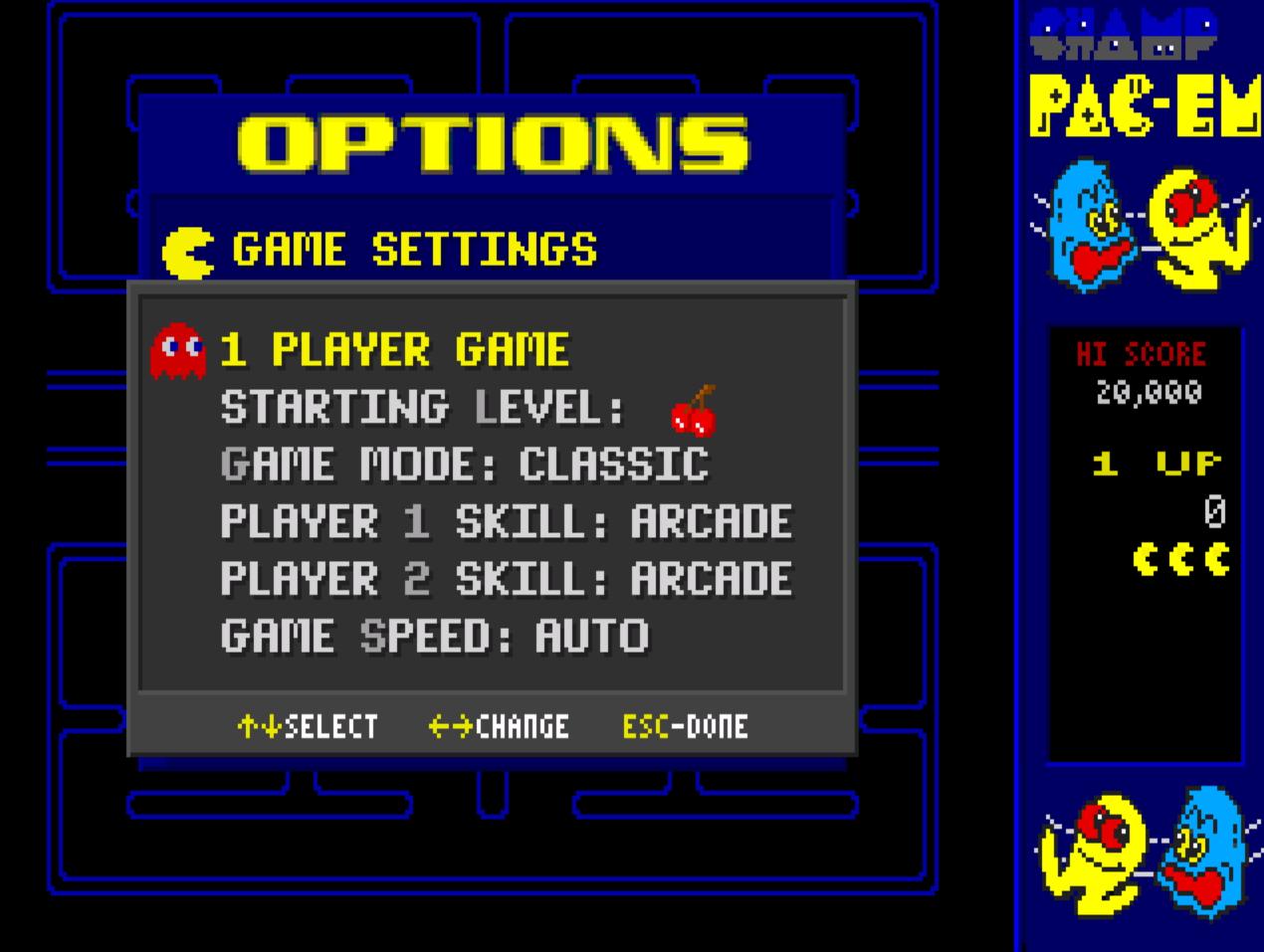 Champ Pac-em: Classic / Arcade 17,170 points