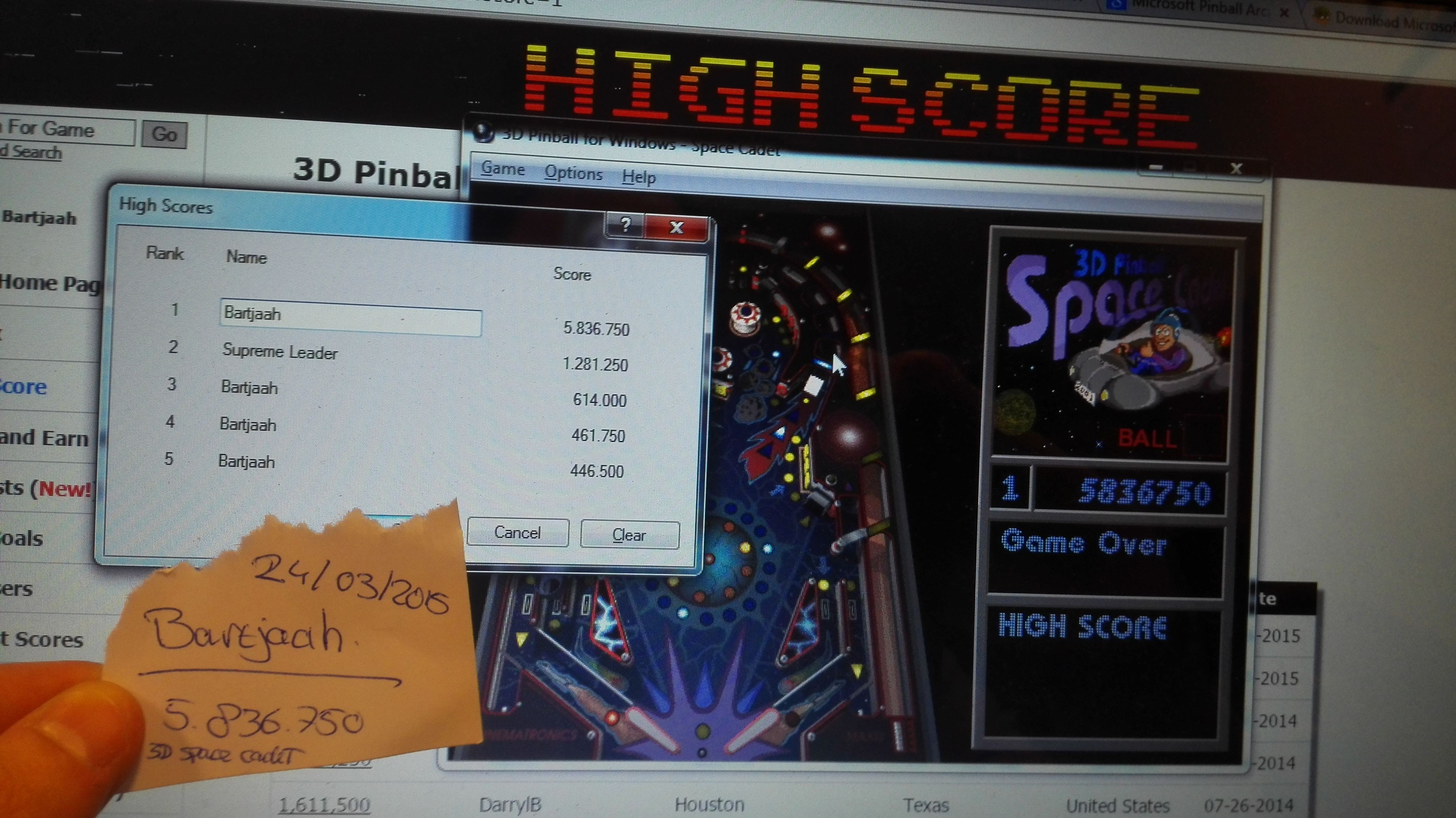 3D Pinball: Space Cadet 5,836,750 points