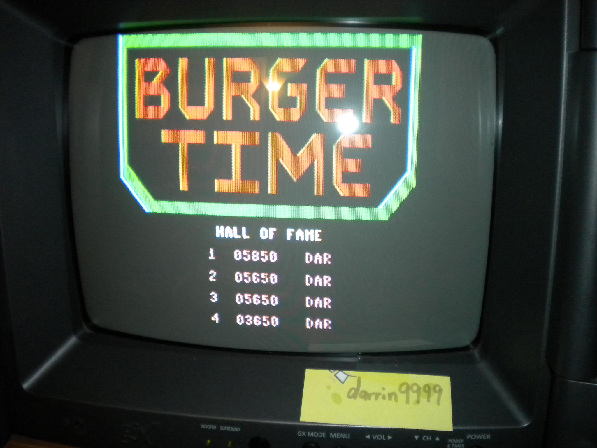 BurgerTime 5,850 points