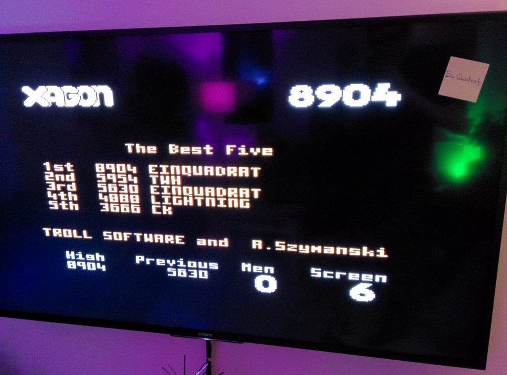 einquadrat: Xagon (Atari 400/800/XL/XE) 8,904 points on 2015-03-31 14:50:48