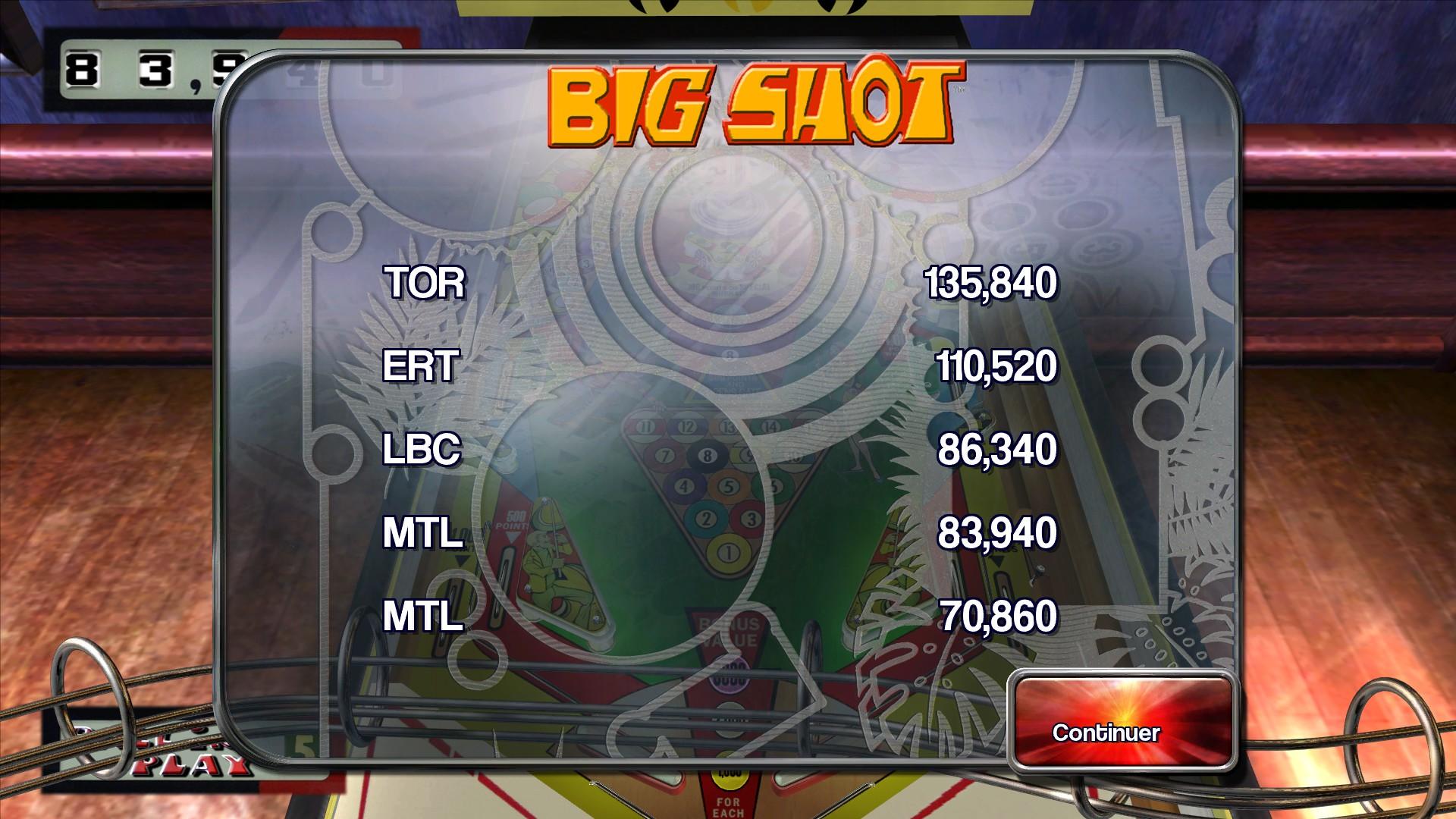 Mantalow: Pinball Arcade: Big Shot (PC) 83,940 points on 2015-04-04 05:05:18