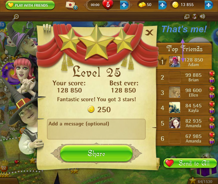 FosterAMF: Bubble Witch Saga: Level 25 (Web) 128,850 points on 2015-04-04 17:33:42
