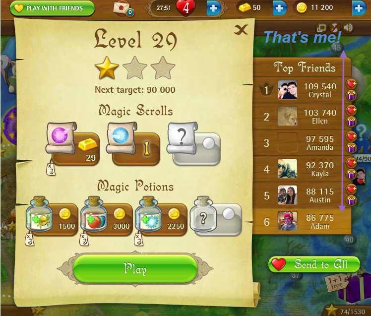 FosterAMF: Bubble Witch Saga: Level 29 (Web) 86,775 points on 2015-04-04 18:09:09
