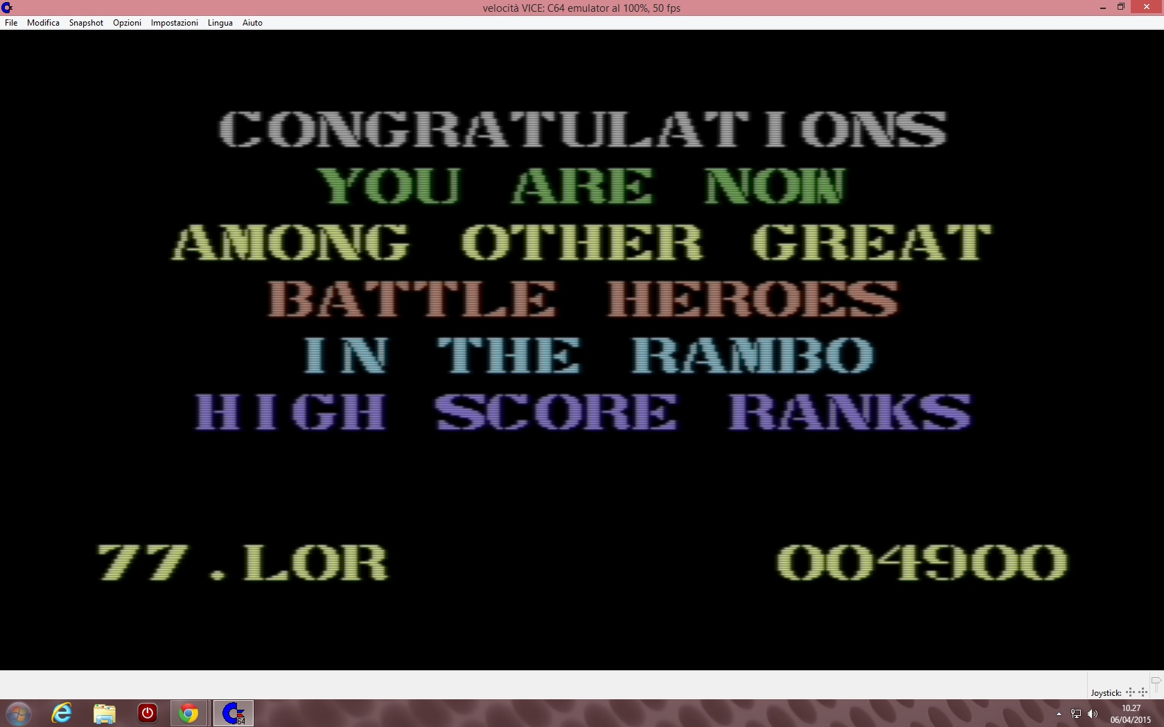 lenny2571: Rambo: First Blood Part II (Commodore 64 Emulated) 4,900 points on 2015-04-06 03:28:16