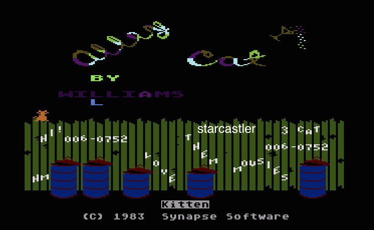 Starcastler: Alley Cat (Atari 400/800/XL/XE Emulated) 60,752 points on 2015-04-08 10:46:30