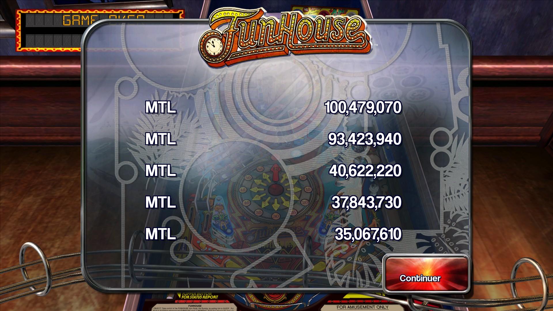 Mantalow: Pinball Arcade: Funhouse (PC) 100,479,070 points on 2015-04-11 15:43:44