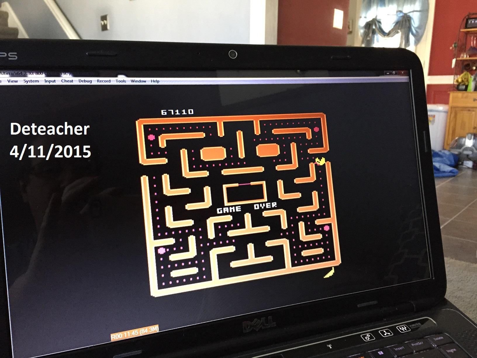 Deteacher: Ms. Pac-Man (Atari 400/800/XL/XE Emulated) 67,110 points on 2015-04-11 15:47:51