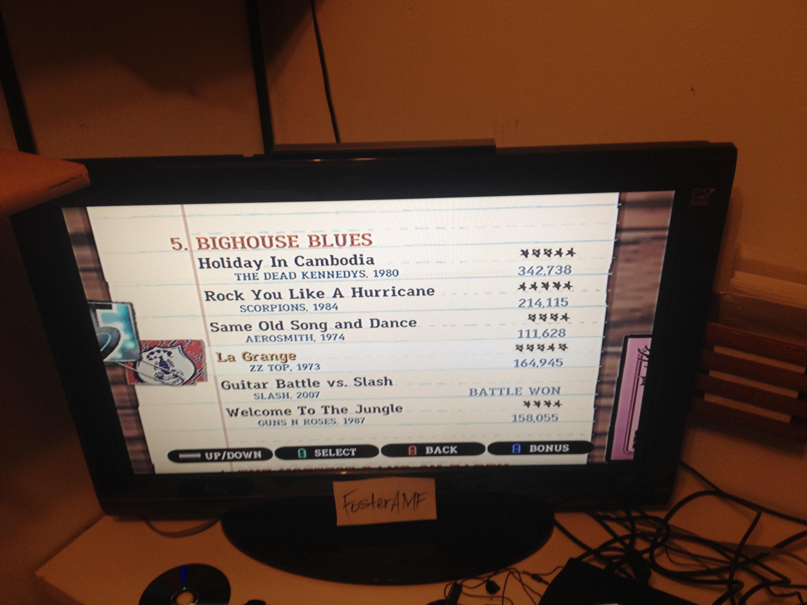 """FosterAMF: Guitar Hero III: Legends of Rock: """"La Grange"""" [Expert] (Wii) 164,945 points on 2015-04-19 00:07:37"""