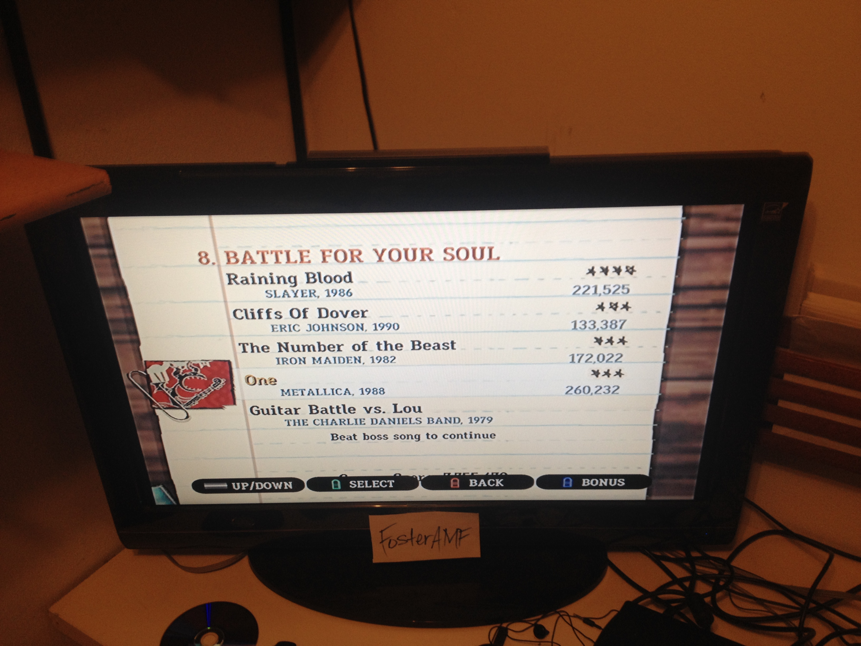 "FosterAMF: Guitar Hero III: Legends of Rock: ""One"" [Expert] (Wii) 260,232 points on 2015-04-19 00:24:43"